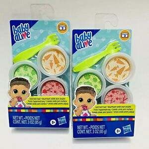 2 Pkgs Baby Alive Solid Doll Food Refill, Includes 3 Foods, 1 Fork Doll Toy