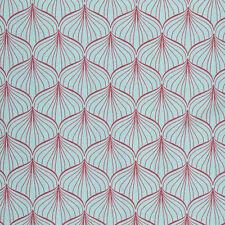 AU MAISON Wachstuch Alli Aqua Sky / Scarlet Red beschichtete Baumwolle 0,5 Meter