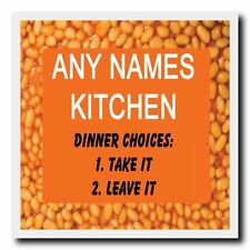 Funny Baked Beans Kitchen Personalised Drinks Mat Coaster