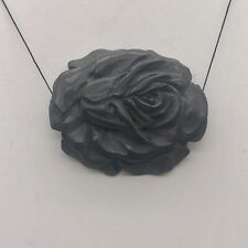 Flora Curved Carved Bone Rose Flower Pendant Bead 10627