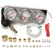 "2.27"" Car Auto Chrome Face Triple Gauge Set Oil Pressure Water Temp Volt Meter"