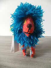 "6.5"" TALL TWOOLIES LION HANDMADE DECORATIVE WOOL ANIMAL BOY GIRL NWT BLUE SMALL"