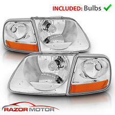 For 97-03/02 Ford F150/Expedition Lightning Style Chrome Headlight + Corner Pair
