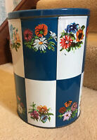 LARGE VINTAGE BLUE WHITE FLOWER LIDDED TIN BOX LUTTI HOLLAND BISCUIT CONTAINER