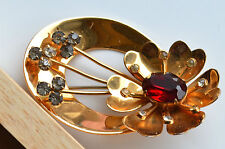 GORGEOUS HUGE SIGNED CORO BROOCH FLOWER GOLDTONE METAL RED CABOCHON RHINESTONES