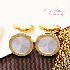 18K Rose & Yellow Gold Plated Glass Crystal Round Shaped Shiny Men`s Cufflinks