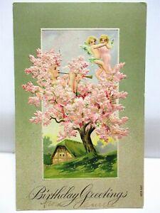 1910 POSTCARD BIRTHDAY GREETINGS, TREE FAIRIES IN FLOWERING TREE