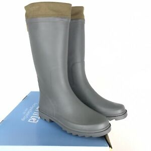 Sanita Womens I've Been Thunderstruck Grey Rain Boot Olive Collar Size 38 New