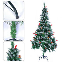 5/6/7FT SnowWhite & Green Christmas Trees With Red Fruit Pine Cone & Stand PROMO