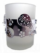 FROSTED GLASS T-LIGHT HOLDER WITH SILVER BAND OF LADYBIRDS
