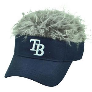 MLB Tampa Bay Rays Creed Flair Navy Grey Hair Visor Faux Fur Hat Cap