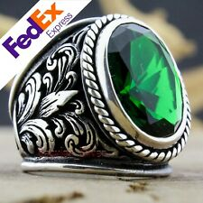 Turkish Handmade Ottoman 925 Sterling Silver Emerald Men's Luxury Ring All Sizes