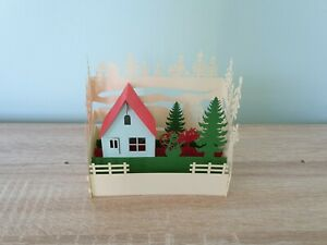 3d Popup Snowman, House And Tree Card