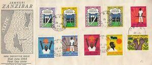 BB4794  Zanzibar Reg? 21 June 1964 Jamhuri First Day Cover,  10 stamps