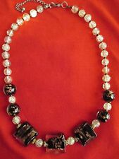 """20.5""""  Clear Crackle Glass & Metallic Lampwork Bead Beaded Necklace"""