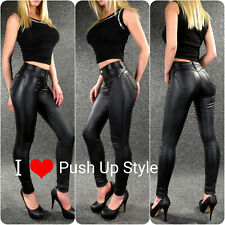 Lederhose Damen Leder Jeans XS - 4XL ZAZOU sexy Po Push Up Kunstleder Hose YA921