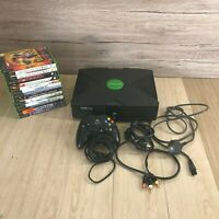 Original Xbox Console with all leads 14 games  controller, cables