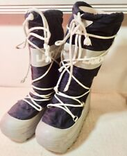 "Navy & Beige LA MONDIALE Italy tall 14"" Snow Pac Boots - US size 8 M/EU 38.5"