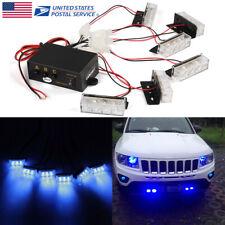 Car 6X 3 LEDs Blue Strobe Emergency Flashing Police Warning Lamp Signal Light US
