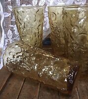 MCM Vtg Anchor Hocking Lido Milano Gold Crinkle Glasses Beverage Set of 4 Amber