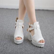 Fashion Women's Open Toe Block High Heels Gladiator Roman platform Shoes Size 8