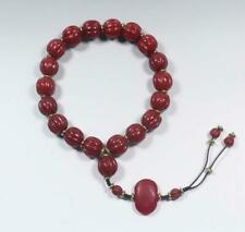 Old Chinese South Red Agate Nanhong Bracelet 19 Beads