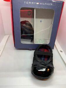 $29 Tommy Hilfiger  Girl infant size 1 6weeks -3 months black ballet shoes Pa