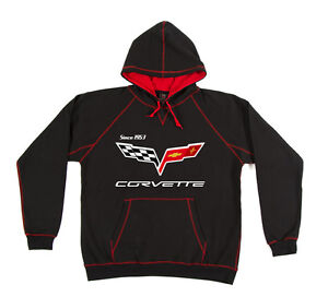 Men's Corvette Pullover Hoodie Black with Red Trim Sweatshirt Printed Logos