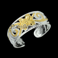 Hawaiian Silver Scroll Engraved 8mm Plumeria Flower 14k Gold Plated Toe Ring