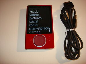 MICROSOFT  ZUNE  RED  120gb...NEW  BATTERY...