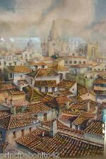 SPANISH VILLAGE WITH STUNNING ROOFTOPS--Exquisitively detailed watercolor