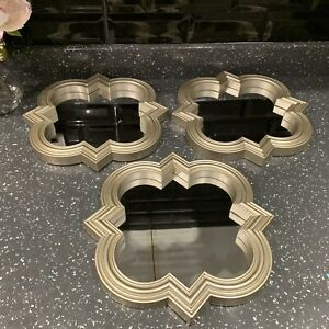 SET OF 3 Moroccan Gold ART DECO Arched Wall MIRRORS WALL ART  Arched Gold MIRROR