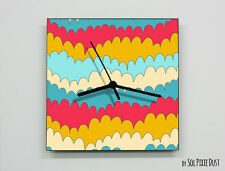 Colorful Flower Blooming Abstract seamless pattern Wall Clock