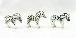 Zebra Very Tiny Miniature Figurine Porcelain and Hand Painted set of 3