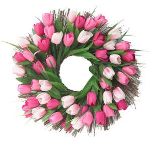 Stimulated Tulip Fall Wreath Spring Door Decor Fabric Front Door Garland