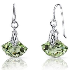 9 CT Green Green Amethyst Sterling Silver Dangling Earrings