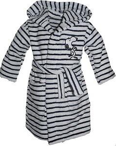 100% Cotton Knee Length Bathrobe Snoopy Various Sizes Ex Brand Navy White Stripe