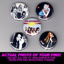 "RUNAWAYS - 1.5"" PINS / BUTTONS (gig poster badge lp joan jett lita cherry bomb)"