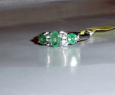 AFRICAN GREEN EMERALD OVAL & WHITE TOPAZ BAND RING, SILVER, SIZE 7, 1.05(TCW)