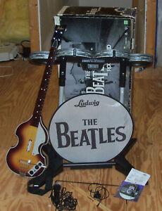 BEATLES Rock Band Bundle Xbox 360 w/ Drum Set, Hofner Guitar, & Microphone & acc