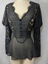 Temperley London Silk Shirt Size 8 Black Lace  Blouse Victorian Edwardian Style