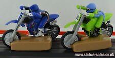 2 Raras impresionante Tyco Mattel Motor Cross Motos 1 Azul 1 Verde Ho ranura de coche
