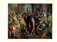 """1950 Vintage EL GRECO """"CLEANSING OF THE TEMPLE"""" FABULOUS COLOR offset Lithograph"""