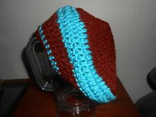 Bright Aqua-Blue and Brown Adult Hand-crafted Crocheted Slouch Hat NEW