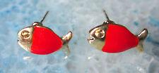 Ohrstecker Ohrring Fisch Fische orange rot emailliert vergoldet