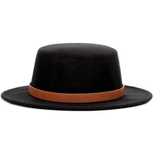 Autumn Winter Women Men Classic Fedora Boater Hat Wide Brim Felt Bowler Cap ABH