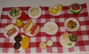 Dollhouse Miniature  Picnic  Set Hamburger Hot Dogs Potato Salad