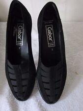 BNIB Ladies Gabor Sport Black Suede Leather Platform Peep Toe Size 7 Shoes -