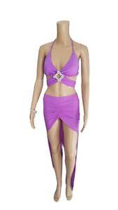 SALE! Exotic Dancer Sexy Stripper 2pc Big Buckle Rhinestone Long Skirt Set
