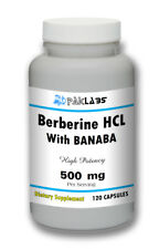 Berberine HCL + Banaba Extract 120 Capsules High Potency 500 mg Best Quality